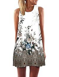 TPulling Robe d été Femme Soiree Elégante Tunique Jupes ❤ Femmes lâches  d été Vintage sans Manches 3D Floral Imprimer Mini Robe… 6942fb11014