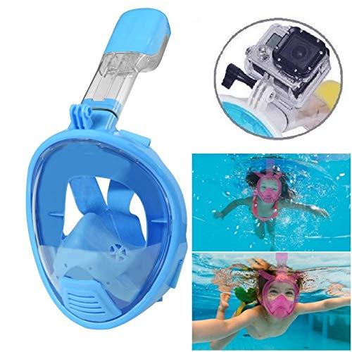 NEOpine (# 141) Kids Diving Full Face Design Snorkel Mask for GoPro New Hero/Hero6/5/5Session/4Session (Blue)