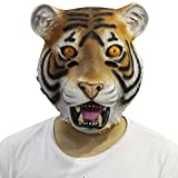Cusfull Masque de Déguisement en Latex Tête de Tigre pour Halloween /Mascarade Anniversaire/la Soirée/Carnaval /Déguisement Mascarade /Cosplay/Noël (tigre )