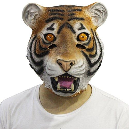 Tiger Maske,Cusfull Deluxe braun Tigermaske Tier Maske Wildkatze Tiermaske Kopfmaske Erwachsenen Kostüm Zubehör für Halloween Fasching (Maske Kostüm Tier)