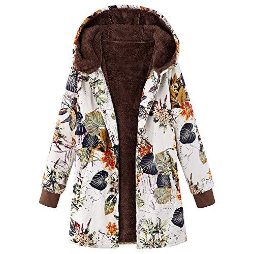 iHENGH Damen Herbst Winter Bequem Mantel Lässig Mode Jacke Frauen Womens Winter Warm Outwear Blumendruck Mit Kapuze Taschen Vintage Oversize Mäntel (Bane Kostüm Mantel)