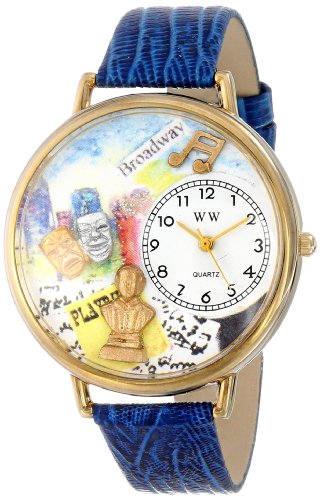 whimsical-watches-drama-theater-royal-blue-leather-and-goldtone-unisex-quartz-watch-with-white-dial-