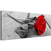 Barato blanco y negro lienzo de un rojo de flor–rosa floral lienzo–1005–Wallfillers®