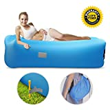 Motenik Inflatable Lounger Air Sofa, Hangout Air Lounger with Headrest and Side Pockets Waterproof & Anti-Air Leaking Air Couch for Traveling Camping Hiking Park Pool Beach