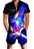 RAISEVERN Mens Galaxy Planet Print Reißverschluss Jumpsuit Kurze Cargohose Strampler Slim Fit Party Overalls Boyfriend Shorts