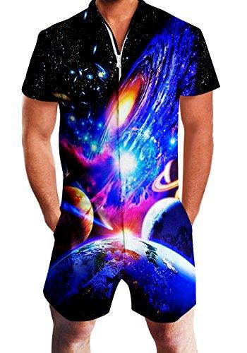 RAISEVERN Mens Galaxy Planet Print Reißverschluss Jumpsuit Kurze Cargohose Strampler Slim Fit Party Overalls Boyfriend Shorts (Disco-mode 70 80)