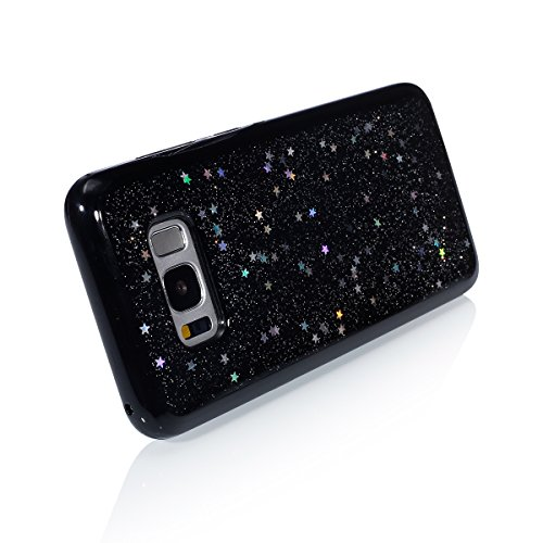Custodia Cover per Samsung Galaxy S8,KunyFond Lusso Moda Brillantini Glitter Bling Placcatura Custodia Ultra Slim Soft Tpu Silicone Case Cover Scintillare Luccichio Cristallo Morbida Gel Protettiva Cu trasparente/stella