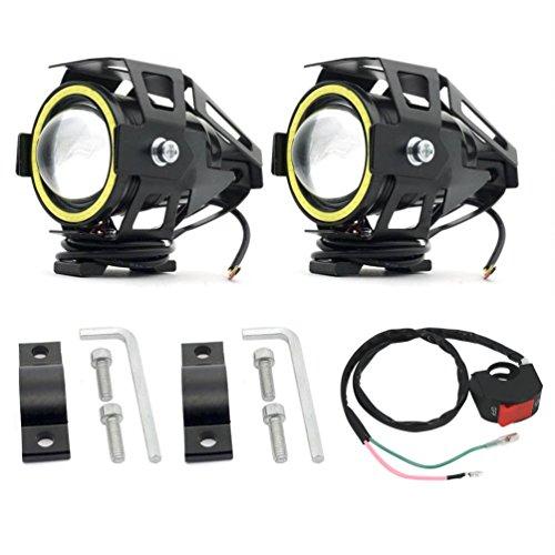 Biqing CREE U7 Engel Auge Licht LED Scheinwerfer Nebelscheinwerfer Arbeitsscheinwerfer Scheinwerfer 12 V für Motorrad Harley Davidson Auto Offroad LKW Wasserdicht mit Schalter (2er Pack)