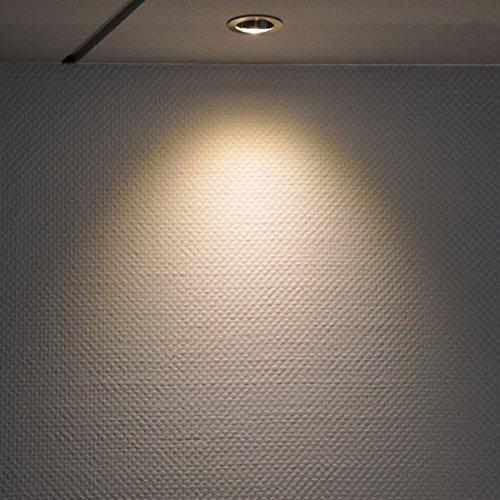 3er IP44 LED Einbaustrahler Set Silber gebürstet mit LED GU10 Markenstrahler von LEDANDO – 7W – warmweiss – 30° Abstrahlwinkel – Feuchtraum / Badezimmer – 50W Ersatz – A+ – LED Spot 7 Watt – Einbauleuchte eckig - 3