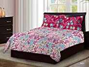 Bombay Dyeing Axia Collection Flat Double Bedding Set, Pink, 220 x 240 cm, 3953 B, 3 Pieces
