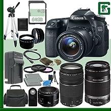 Canon EOS 70d Kit de cámara réflex digital con lente de 18–55mm IS STM y Canon 55–250mm lentes y Canon 50mm f/1,8lente y Canon EF 75–300mm III lente + 64GB verde de la cámara paquete 1