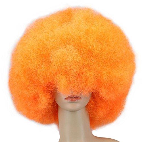 WIAGHUAS 200G Super Große Kurze Frauen Männer Kinder Culry Cosplay Perücke Party Orange Dance Synthetische Afro Perücken 12 inch