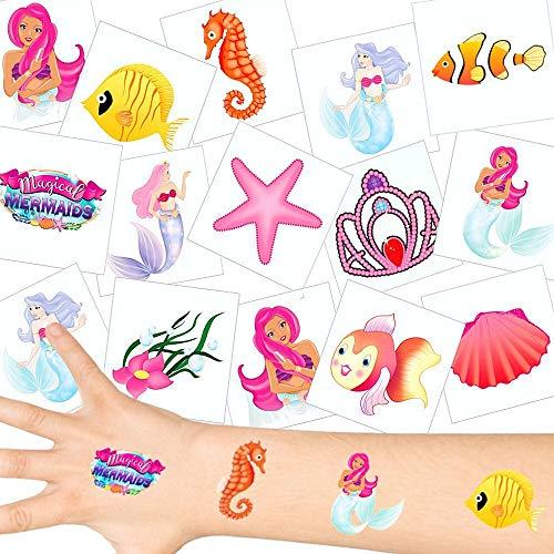 German Trendseller® - Meerjungfrauen Tattoos Set ┃ NEU ┃ Kindergeburtstag ┃ Mitgebsel ┃ Party Tattoos ┃ 12 Tattoos (Meer Tattoos Tier)