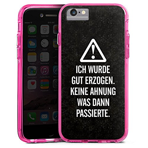 Apple iPhone 6s Bumper Hülle Bumper Case Glitzer Hülle Vie Life Leben Bumper Case transparent pink