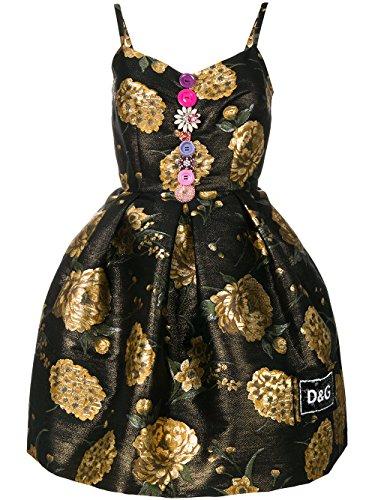 Dolce E Gabbana Damen F67g0zfjm44s8350 Schwarz Acetat Kleid (Gabbana Damen-kleider Dolce &)