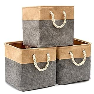 EZOWare Pack de 3 Bacs de Rangement, Cubes de Rangement pliants en Tissu Toile Tweed avec poignée pour Jouets, Les vêtements Serviettes Stockage (33 x 33 x 33 cm), Gris et Marron