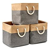 EZOWare Cajas de Almacenaje, 3 Pcs Cesta Organizador Cubos de Tela Plegable con Manijas para Hogar, Oficina, Estanterías, Armarios, Ropa, Juguetes y mas - 33 x 33 x 33 cm (Gris/Marrón)