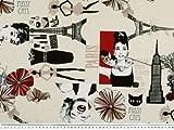 Zanderino ab 1m: Dekostoff, Kinostars, Paris, New York, natur-rot, 140cm breit