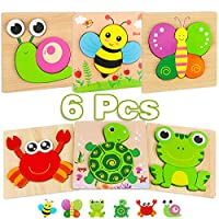 Aiduy Wooden Puzzles for 1 2 3 Year Olds, 6 Pack Wooden Jigsaw Puzzles for 1 2 year olds, Toddler Puzzle Game Educational Toys for 1 2 Year Old Boy Girl Childrens