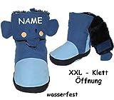 alles-meine.de GmbH Thermo - Überziehschuhe / Lauflernschuhe -  Elefant - blau  - incl. Name - Größe: 6 bis 9 Monate / Gr. 19 - 20 - Fleece gefüttert - mit langem Schaft & Klet..