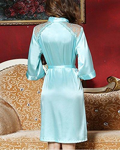 Donna Camicia da Notte in Raso Scollo a V Kimono Vestaglia Pigiama 2 Pezzi Seta in Pizzo Blu