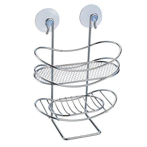 Msv 140608 - portaoggetti ovale per doccia, con ventose, in metallo cromato, 18 x 7,5 x 22 cm