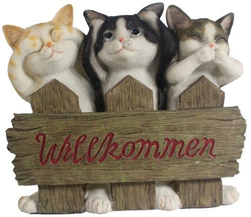 Willkommen Schild Katzen Bewegungsmelder Dekoration Garten