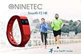 NINETEC Smartfit F2HR Rot Fitness Tracker mit Pulsmesser Bluetooth 4.0 Sport Armband Schrittzähler Aktivitätsarmband Fitnessarmband Sportuhr mit Schlafanalyse Kalorienanalyse SMS Anrufe - 4