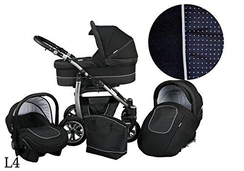 Kinderwagen Babywagen Kombikinderwagen Baby Merc LEO 3 in 1 Komplettset mit Zubehör 0-3 Jahre 0-15 kg Insektenschutz Netz Wickeltasche Regenschutz Getränkehalter Buggy Autositz (L4 schwarz)