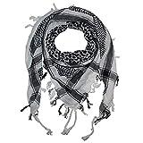 Superfreak® Palituch Grundfarbe weiß°PLO Schal°100x100 cm°Pali Palästinenser Arafat Tuch°100% Baumwolle, Farbe: weiss/schwarz
