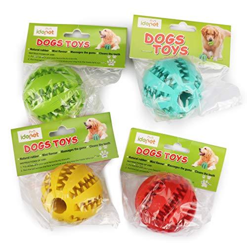 Idepet Hund Spielzeug Ball, ungiftig Bite resistent Spielzeug Ball für Hunde Welpen, Hundefutter Treat Feeder Zahn Reinigung Ball, Hunde Übung Spiel Ball IQ Training Ball - 2
