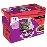 Whiskas 1+ Years Wet Cat Food Meat Selection in Gravy, 12 x 100g