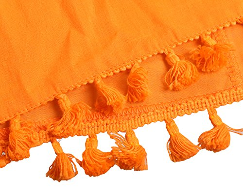 Aleumdr Damen Bikini Cover up Pompon Quasten Saum Strandkleid Strandponcho Sommer Überwurf Orange