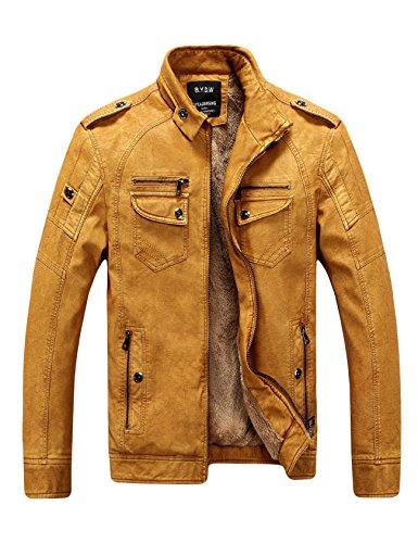 Legou Herren Reißverschluss Bikerjacke Lederjacke Kunstleder Motorrad Zip Outwear Faux Leder Jacken Coats Gelb M (Faux-gelb-leder-jacke)