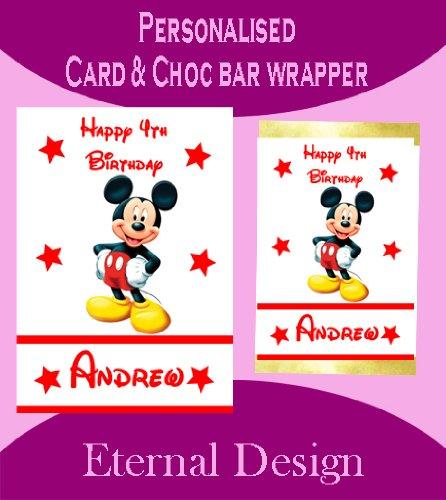 Personalisierte Geburtstagskarte & inkl. passender Schokotafel-Verpackung Mickey Mouse