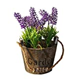 MagiDeal Künstliche Blumen Lavendel im Blumentopf Holz , Kunstblume / Kunstpflanze -Wohnkultur - Graue Topf lila Blume
