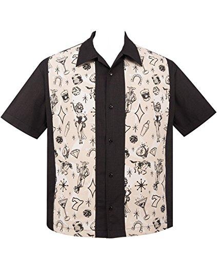 Steady Clothing Herren Vintage Bowling Hemd - Vegas Lights Panel Retro Bowling Shirt (L) (50er Jahre Bowling-shirt)