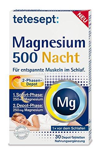 tetesept Magnesium 500 Nacht – Nahrungsergänzungsmittel mit hochdosiertem Magnesium für entspannte Muskeln im Schlaf – 5 x 30 Tabletten
