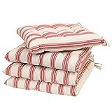 Dibor - Juego de Cojines de algodón para Silla con Lazos para Exteriores, diseño de Rayas, Color Rojo