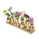 Keramikvasenset Blumenvase Keramikvasen Bunt/weiß Vase Blumen Pflanzen Keramik Set Deko Dekoration (10 Vasen, Gold)