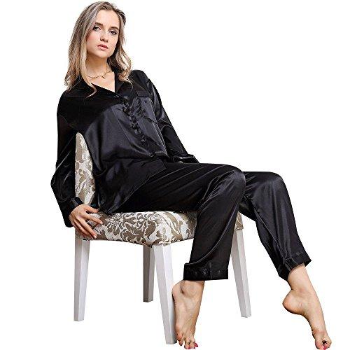 Ensemble de Pyjama en Satin à Manches Longues pour Femmes XS~3XL plus Black