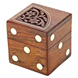 Prisha India Craft Handmade Indian Dice Game Set with Decorative Storage Box
