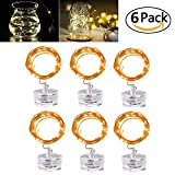 LED Fairy String Lights - Joseche Festival String Light [6 Pack] 2M/6.5ft MutilColor Waterproof String Lights Battery Operated with 20 Micro LEDs for Wedding Parties Bedroom Festival Decor (WarmWhite)