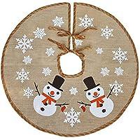 Awtlife 122cm Burlap gonna albero di Natale per Natale Decorazioni festive Holiday, cute Snowman vintage Christmas Decor