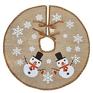 Awtlife Falda de árbol de Navidad de 122 cm con arpillera para decoración de Navidad, Vacaciones Festivas, Lindo muñeco de Nieve Vintage decoración de Navidad