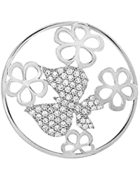 MY iMenso mariposa & Flores Fantasía insignia con circonitas plata 33 mm 33-0989