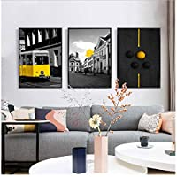 Modern Classic Scenery Black White Yellow Bus Poster City Landscape Prints Umbrella Balloon Canvas Wall Pictures for Living Room -50x70cmx3 (no Frame)
