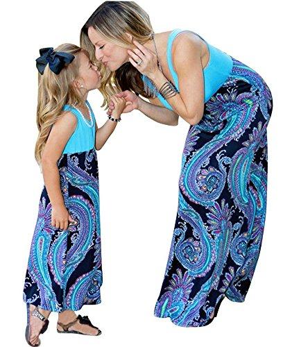 Minetom Sommer- Mode Maxi Kleid Beiläufige Familie Kleidung Mädchen Kleid Mutter Und Tochter Beiläufig Boho Ärmelloses Splice Strandkleid Kind 110 -