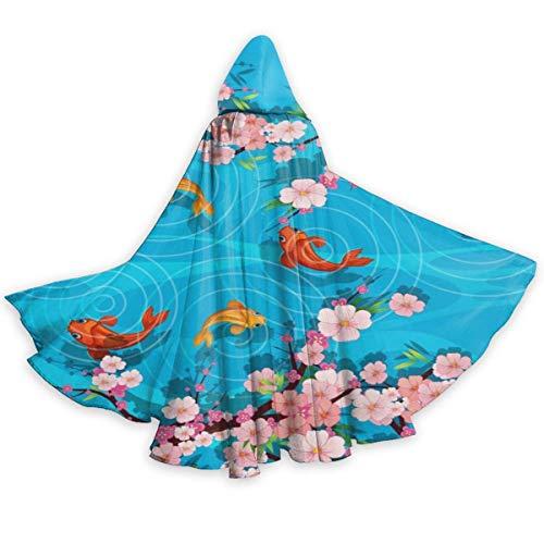 NR Plum und Fisch Halloween Umhang Fancy Kapuze Cape mit Kordelzug Adult kühle Hexe Robe extralange Partei Cape