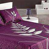 Couvre-lit 250x270 cm tissé jacquard Nayla violet pour lit de 160x200 cm fabriqué en Espagne C/09
